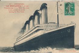 Cherbourg (50 Manche) Le Britannic Paquebot Transatlantique En Rade - Le Plus Puissant Du Monde - Leaving For New York - Cherbourg