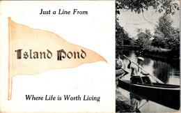 Vermont Island Pond Just A Line 1912 Pennant Series - Otros