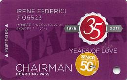 Station Casinos Las Vegas, NV - Slot Card Copyright 2011 - Chairman / Large Space Under Logos - Casinokaarten