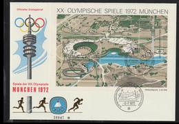 Germany FDC 1972 München Olympic Games Souvenir Sheet - München (LAR10-64) - Verano 1972: Munich
