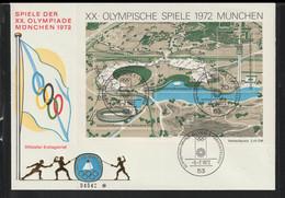 Germany FDC 1972 München Olympic Games Souvenir Sheet - Bonn (LAR10-64) - Verano 1972: Munich