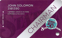 Station Casinos Las Vegas, NV - Slot Card Copyright 2013 - Chairman With 50+ Sticker - Casinokaarten