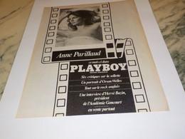 ANCIENNE PUBLICITE COUVERTURE ANNE PARILLAUD AVEC PLAYBOY 1981 - Andere