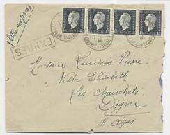 DULAC 4FR50 BANDE DE 4 1 DEFAUT LETTRE EXPRES MARSEILLE 1946 AU TARIF AFFR COMMUN - 1944-45 Maríanne De Dulac