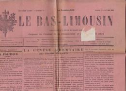 """Journal """"Le Bas-Limousin"""". 1er Janvier 1924. Articles De Charles Malato (journaliste Anarchiste), Jean Sémelas, Etc. - Limousin"""
