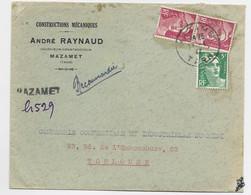 GANDON 5FR ROSE PAIRE +5FR VERT LETTRE REC PROVISOIRE MAZAMET 17.1.1947 TARN AU TARIF - 1945-54 Marianne Of Gandon