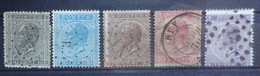 BELGIE   1865  Nr. 17 - 21   Tand. 15   Zie Verder    Gestempeld  CW + 150,00 - 1865-1866 Profilo Sinistro