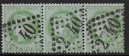 Cérès  N° 53 Bande De 3  Oblitérée  - Cote : 45 € - 1871-1875 Ceres