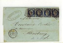 N 4 En Bande De 4 Sur Lettre Ob Cachet Date St Dizier Grille Sur Les Timbres - 1849-1876: Classic Period