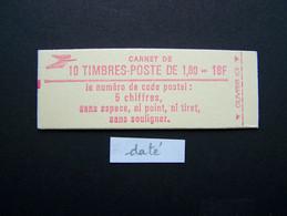 2220-C5 CONF. 6 CARNET DATE DU 28.7.82 FERME 10 TIMBRES LIBERTE DE GANDON 1,80 ROUGE CODE POSTAL - Uso Corrente