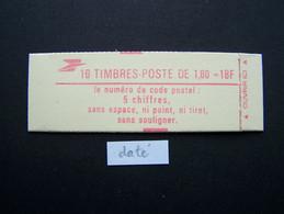 2220-C6 CONF. 9 CARNET DATE DU 13.9.82 OUVERT 10 TIMBRES LIBERTE DE GANDON 1,80 ROUGE CODE POSTAL - Uso Corrente