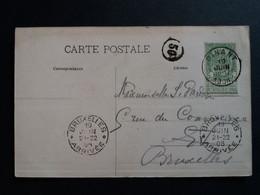 """Belgique  Oblitération Dinant + Bruxelles Arrivée (essai) Sur CP Vue """" Le Pont Et L,hotel Des Postes """" - AK [1871-09]"""