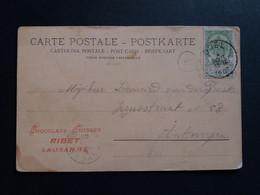 """Belgique  Oblitération Doel Sur CP Vue Lugano """" Piazza Gugliemo Tell """" - AK [1871-09]"""
