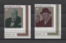 Penrhyn Isl. Winston Churchill 1974 Mi#62-63B MNH - Sir Winston Churchill