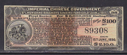 BEFORE-1950 Local CHINA  1911 Railroad BOND Trains Railway MNG Duct Tape - Trains