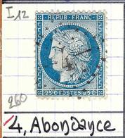 FRANCE Classique: Le Y&T 60A, Obl. GC 4 (Abondance, Ind.12), HAUTE SAVOIE - 1871-1875 Ceres