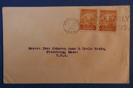 E1 BARBADE GB LETTRE RARE 1941 BARBADOS POUR USA+ PAIRE DE TIMBRES + CACHETS PLAISANTS - Barbados (...-1966)
