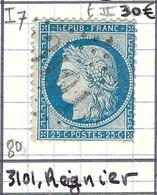 FRANCE Classique: Le Y&T 60B, Obl. GC 3101 (Reignier, Ind.7), HAUTE SAVOIE - 1871-1875 Ceres