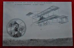"CPA  Aviation Militaire -  Manœuvres De Picardie - Lieutenant Camerman - Biplan ""Farman"" - Manoeuvres"