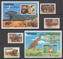 AA537 1991 UGANDA WWF ANIMALS OF AFRICA #960-63 MICHEL 29 EURO 2BL+1SET MNH - Nuevos