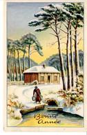 CP Fete Voeux Bonne Année Nouvel An Dessin Neige Paysage Maison Lethiais Iville - Neujahr