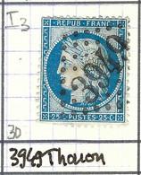 FRANCE Classique: Le Y&T 60Ca, Obl. GC 3949 (Thonon, Ind.3), HAUTE SAVOIE, TP Déf. - 1871-1875 Ceres