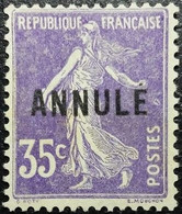 France Y&T CI N°142a -1- Semeuse 35c Violet Neuf Sans Gomme. Bon Centrage... - Corsi Di Istruzione