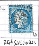 FRANCE Classique: Le Y&T 60Aa, Obl. GC 3274 (Sallanches, Ind.4), HAUTE SAVOIE - 1871-1875 Ceres