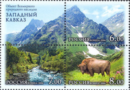 Russia 2006  The World Nature Heritage In Russia. The West Caucasus. Mi 1379-81Zf - Unused Stamps