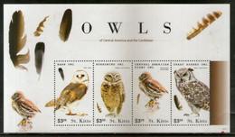 St. Kitts 2015 Caribbean  Owls Birds Of Prey Wildlife Fauna Sc 924 Sheetlet MNH # 9543 - Owls