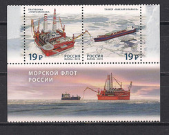 Russia 2015 Sea Fleet Of Russia. Mi 2221-22Zf With Label - Unused Stamps