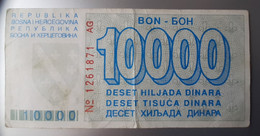 BOSNIA 10.000 Dinara 6.4.1993  Pick 28 Bon Issued During The Siege Of Sarajevo Prefix AG - Bosnia And Herzegovina