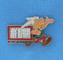 1 PIN'S //  ** ASTÉRIX & AVENIR PUBLICITÉ ** . (© 1991 Goscinny Uderzo) ARGENTÉ - Comics
