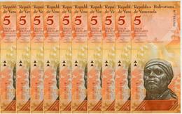 Venezuela 5 Bolivares 2013 P 89 UNC Lot 20 Pcs 1/5 Bundle - Venezuela