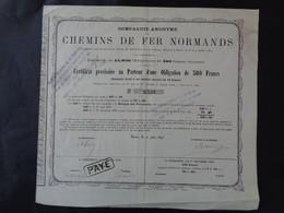FRANCE - CIE DES CHEMINS DE FER NORMANDS - CERTIFICAT D'UNE OBLIGATION DE 500 FRS - PARIS 1870 - PEU COURANT - Unclassified