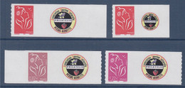 4 Timbres Lamouche ITVF Personnalisés, Y&T 3802A, 3802Aa, 3802B Et 3802C Neufs // Spink - Personalized Stamps