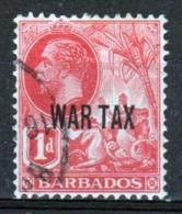 Barbados 1917 George V Single One Penny Stamp Overprinted War Tax. - Barbados (...-1966)