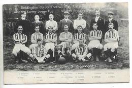Postcard, Football, Beddington Corner, Winners Of Surrey Junior Cup, 1906. - Football