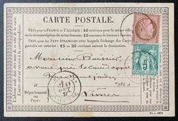 France Carte Précursseur 1876 Mixte Sage N/B Céres N°64 5c Vert Et N°54 10c Obl Dateur Carpentras Pour Nimes TTB - 1871-1875 Ceres