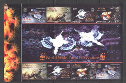 AA601 2004 MALDIVES WWF FISH & MARINE LIFE DRACONIS #4407-10 MICHEL 1KB MNH - Nuevos