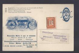 Gand - 1913 Le Dôme De L'entrée Principale - Reclame Nouvelle Moto Houard Gand - Postkaart - Gent