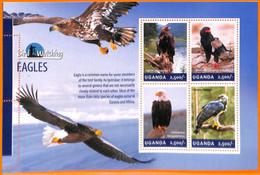 A7231 - UGANDA, Error, 2014, MISPERF MINIATURE SHEET: Eagles, Bird Watching - Grey Partridge