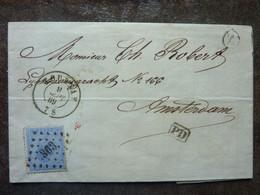 1869    Lettre 20c Léopold II  Profil Gauche Cachet Amsterdam Au Dos  PERFECT - 1865-1866 Profilo Sinistro