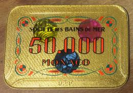 98 MONACO MONTE-CARLO SOCIÉTÉ DES BAINS DE MER PLAQUE DE 50.000 FRANCS N° 0294 JETON CHIP TOKENS COINS CHIPS - Casino