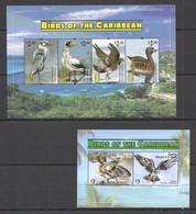 AA633 2011 CANOUAN FAUNA BIRDS OF THE CARIBBEAN #173-6 MICHEL 13 EURO KB+BL MNH - Marine Web-footed Birds