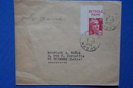 Y4 FRANCE BELLE LETTRE RARE  1950    BANDE PUB PETROLE HANH  SUR ENVEL REUTILISEE    POUR LIMOGES + + AFFRANCH  PLAISANT - 1921-1960: Période Moderne