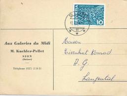 """Motiv Karte  """"Aux Galeries Du Midi, Sion""""            1964 - Covers & Documents"""