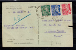Perfore - Debeurain - Carte Postale Commerciale (defauts) Avec 3 Types Mercure Perfin ND - Perfins