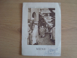 MENU COMPAGNIE GENERALE TRANSATLANTIQUE PAQUEBOT MAROC 6 MARS 1955 - Menus