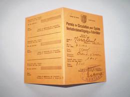 Permis De Circulation Pour Cycles, Police Cantonale De Montana, Canton Du Valais; Crans Montana . 1945 - Unclassified
